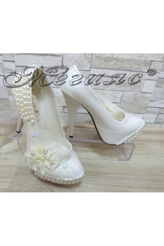 Women elegant shoes 301 white with high heel