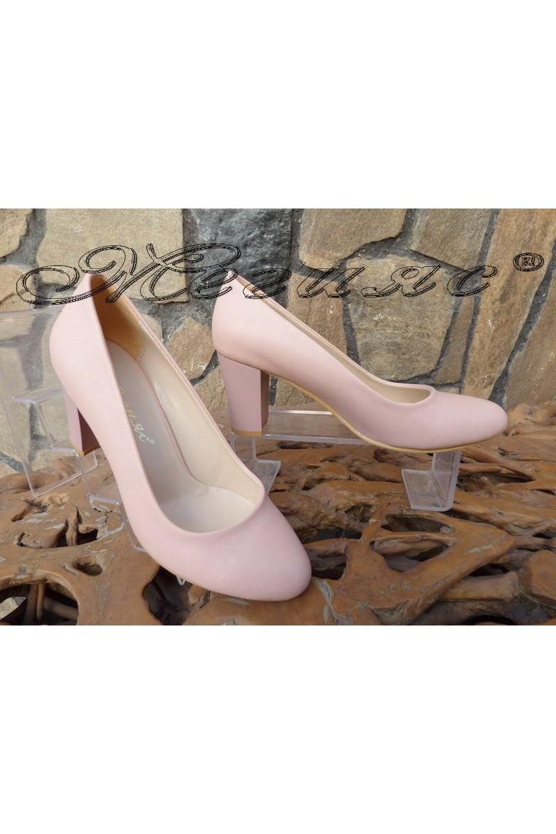 Дамски обувки 99 пудра кожа на широк елегантни