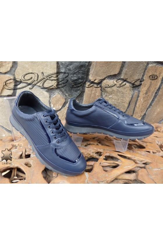 Мъжки обувки 010 сини от естествена кожа