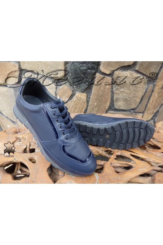 Men's shoes 010 dark blue leather