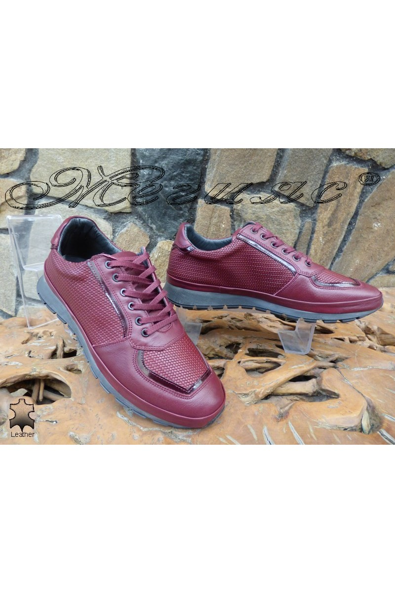Мъжки обувки 010 бордо от естествена кожа
