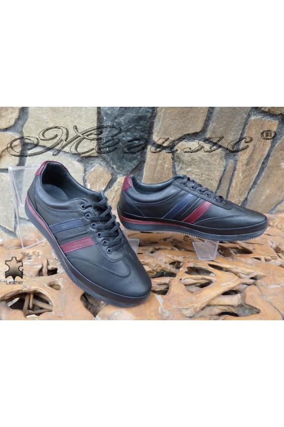 Men's sport shoes 1798 black leather