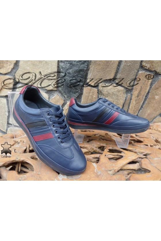 Мъжки обувки 1798 сини от естествена кожа