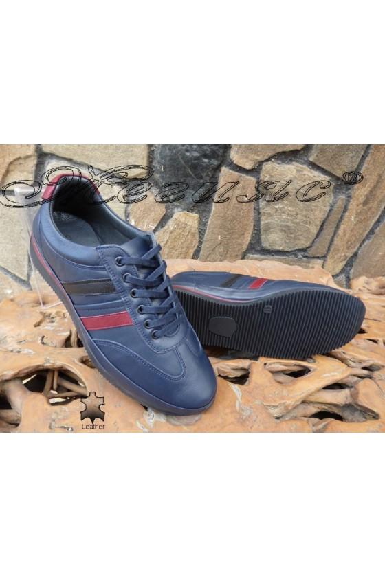 Men's sport shoes 1798 blue leather