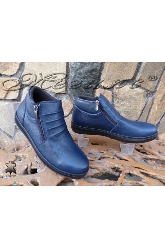 Men's sport boots 100 blue leather