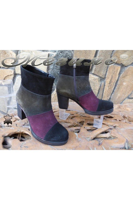 Women boots 192 black/wine suede leather