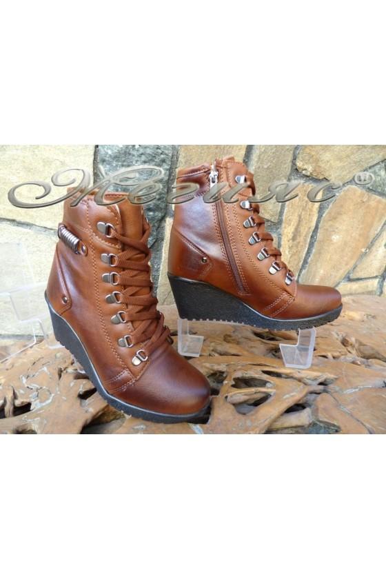 Women boots 357 brown pu