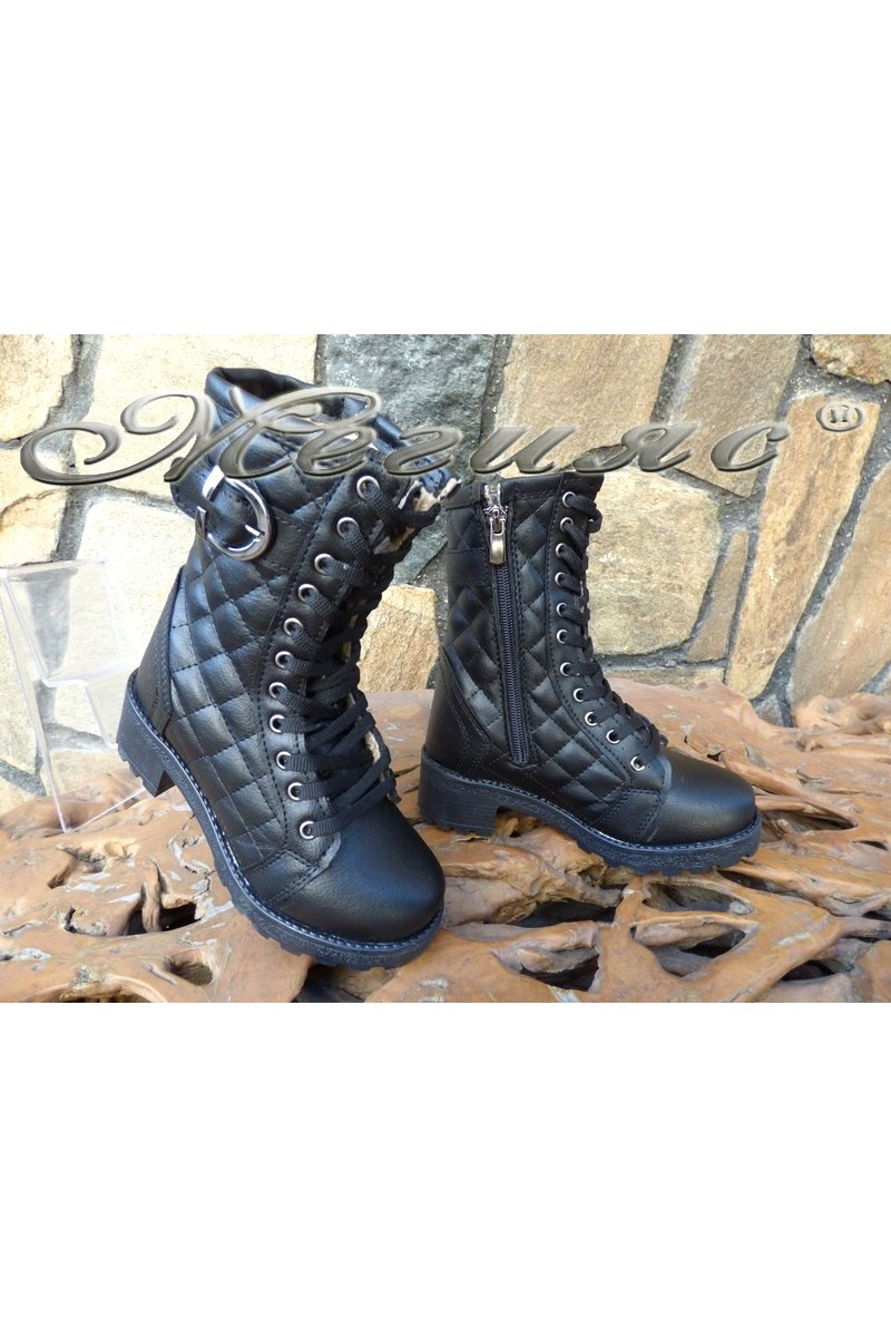 Women/children's boots 342/343 black pu