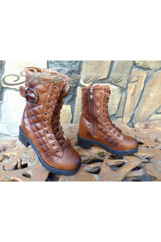 Women/children's boots 342/343 brown pu