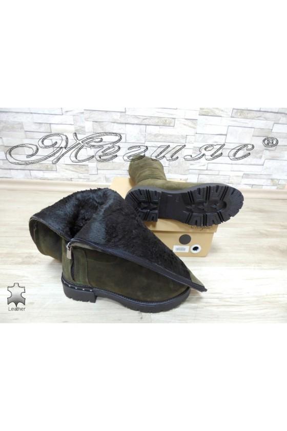 Women boots 66 green suede