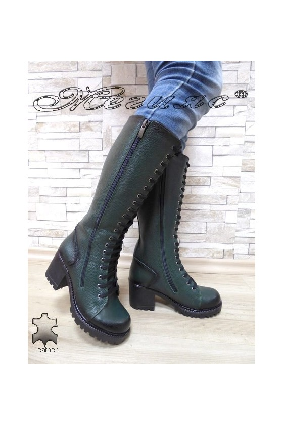 Women boots 7705/300 green leather