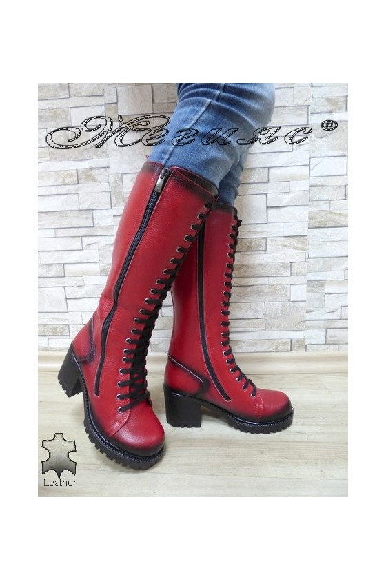 Women boots 7705/88 red leather