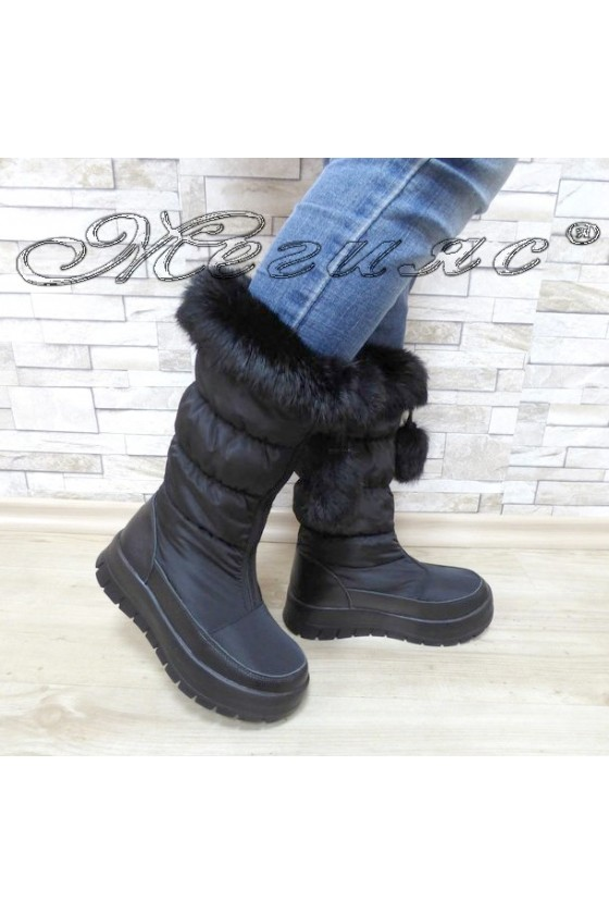 Lady warm boots 18-2345 black leather + textiles