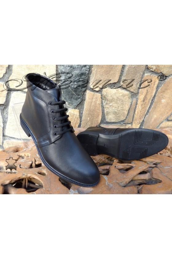 Men's elegant boots 14802 black leather
