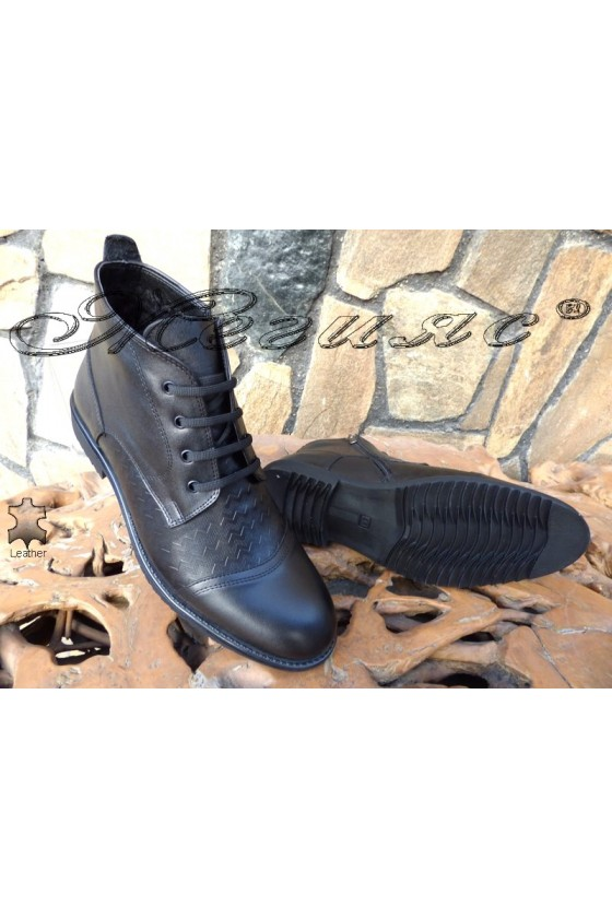 Men's elegant boots 14703-245 black leather