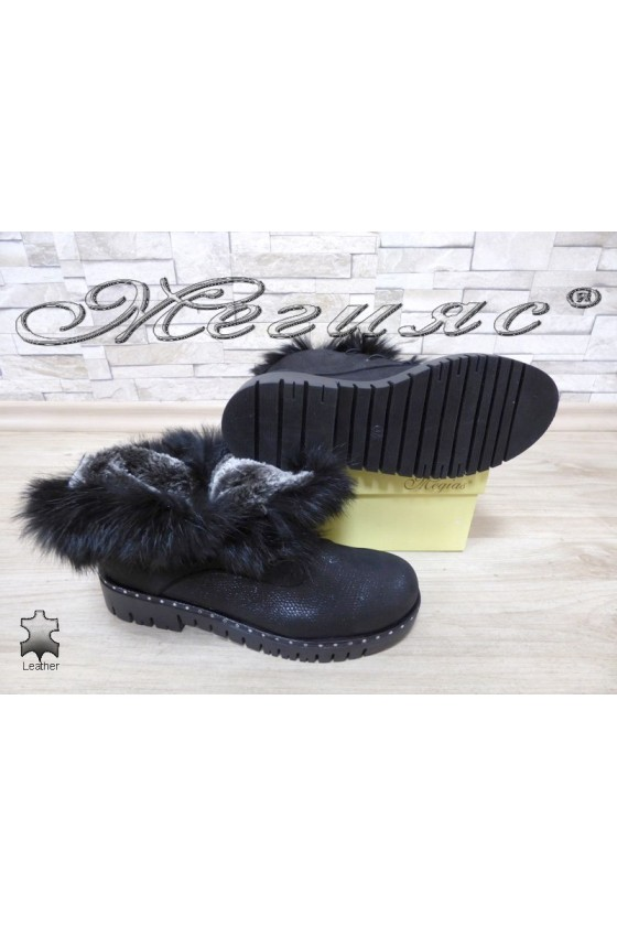 Lady boots 4026 black leather with fur