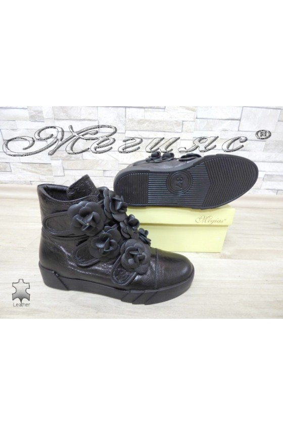 Women boots 4137 black leather