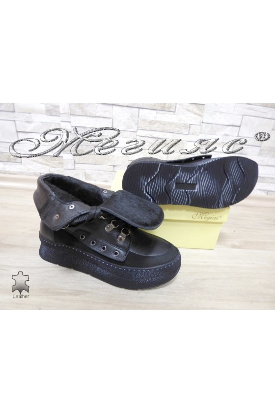 Women boots 4147 black leather