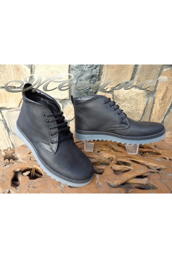 Men's boots 14905 black leather