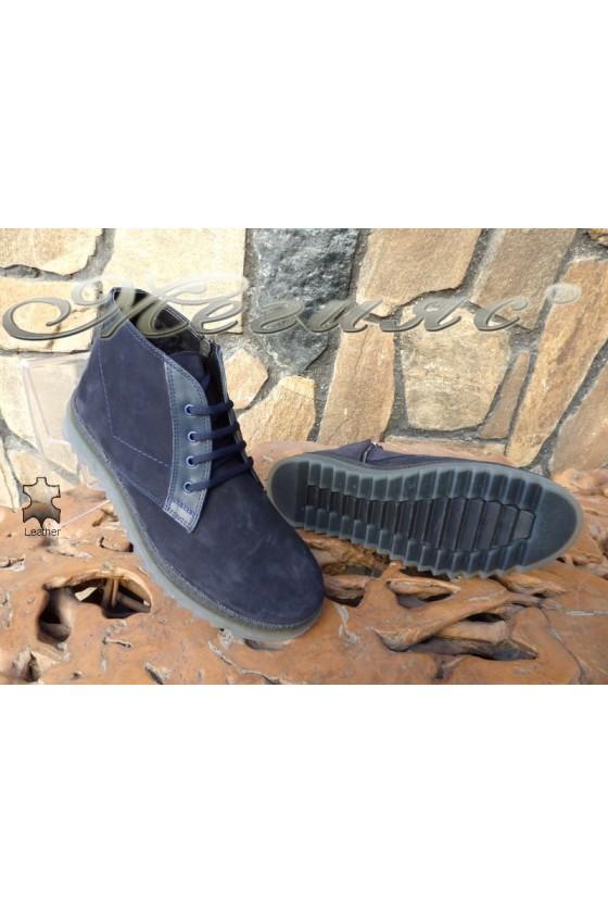 Men's boots 14901 dark blue leather