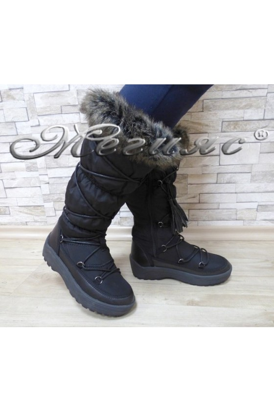 Lady warm boots 18-2775 black pu+ textiles
