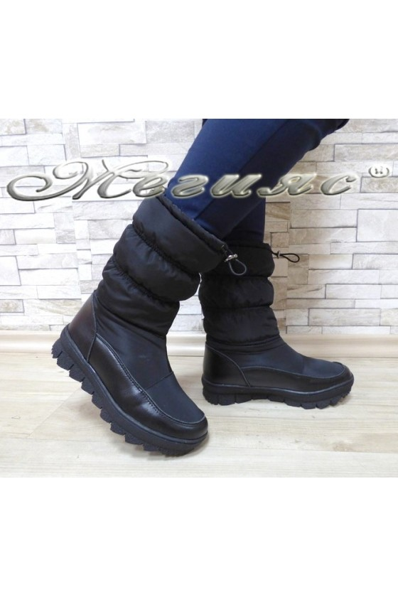 Lady warm boots 18-2768 black pu+ textiles
