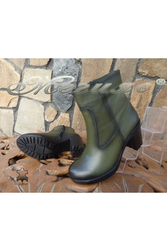 Lady boots 5442 green  leather