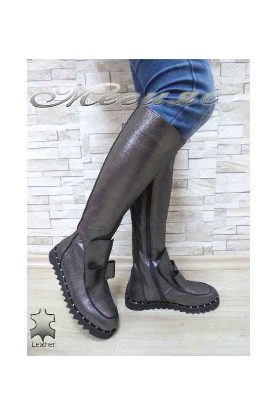 Women boots 785-165 grey leather