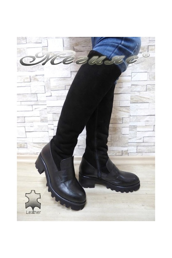 Women boots 9025 black leather