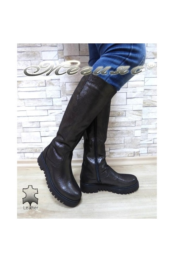Women boots 500-123 grey leather
