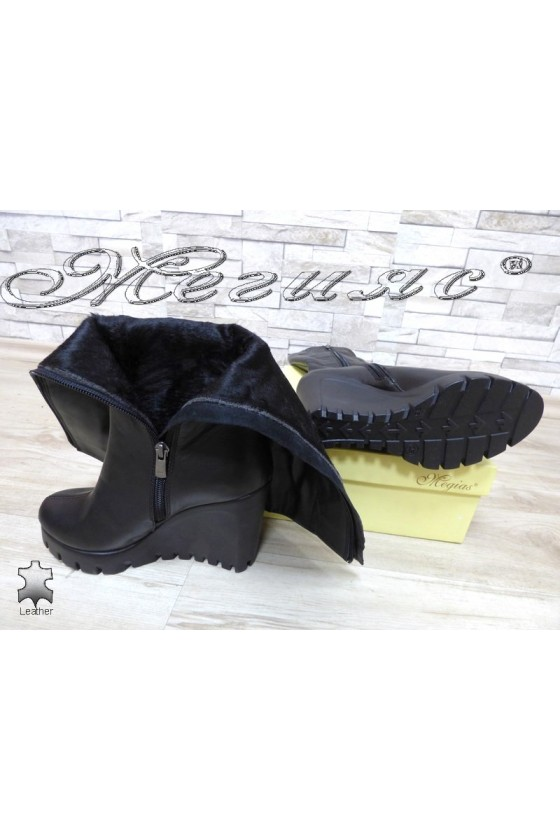 Women boots 91-01-8529 black leather