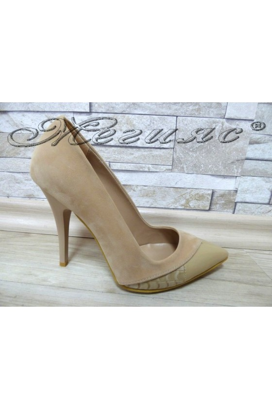 Lady elegant shoes 360 beige pu with high heel
