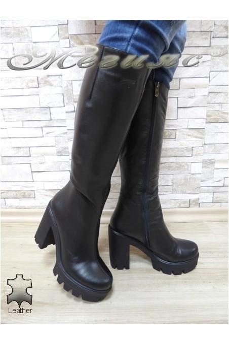 Дамски ботуши 91-01-8342 черни от естествена кожа
