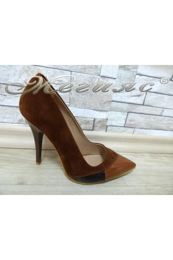 Women elegant shoes 360 Lt.brown pu with high heel
