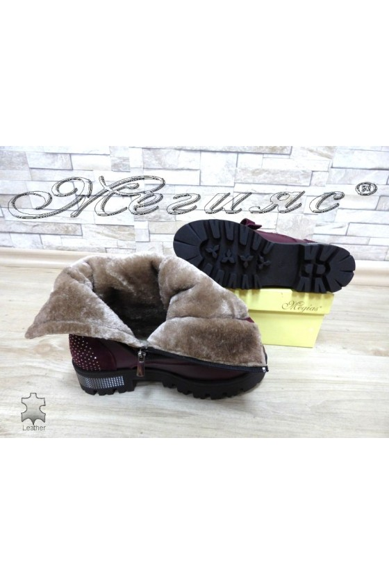 Women boots 028-11 wine leather