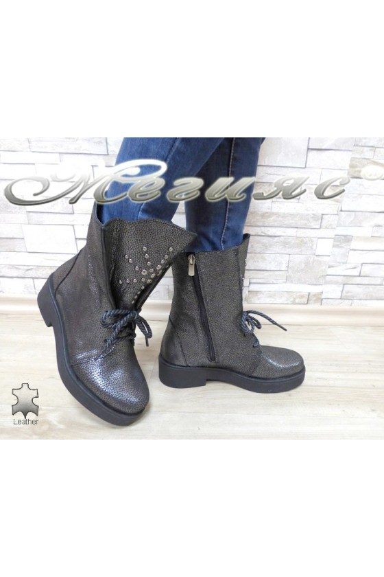 Women boots 2021-173 silver leather