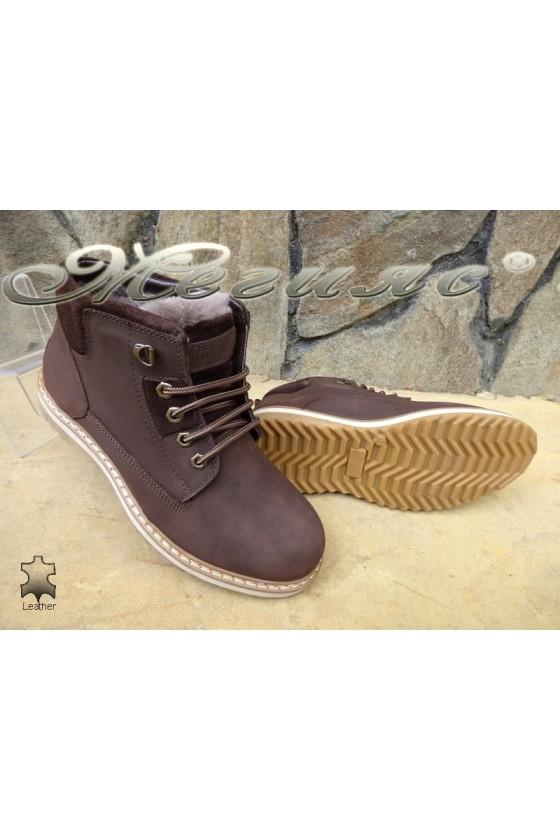Men's boots 801 dark brown lether