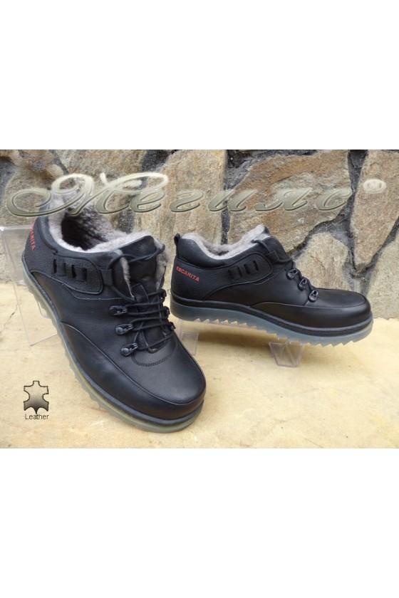 Мъжки обувки 405 черни от естествена кожа