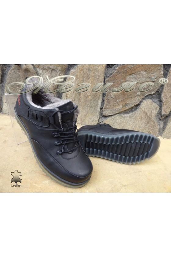 Men's shoes 405 black leather