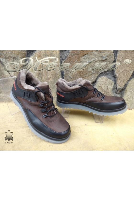 Мъжки обувки 405 кафяви от естествена кожа
