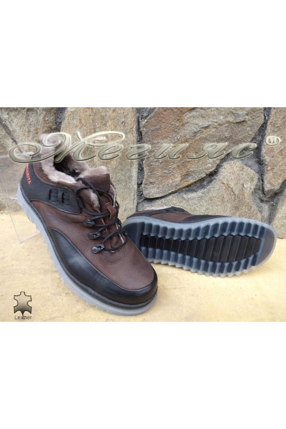 Men's shoes 405 dark brown leather