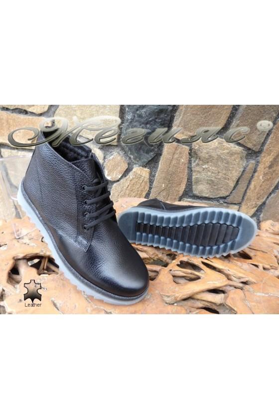 Men's boots 14901 black leather