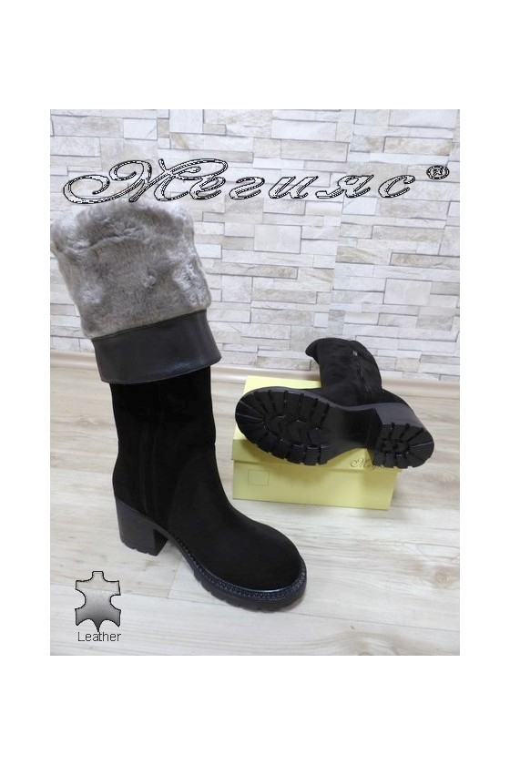 Lady boots 4350-21 black suede