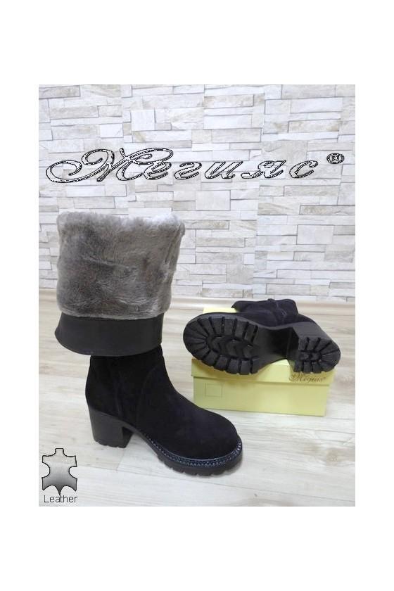 Lady boots 4350-21 dk.blue suede