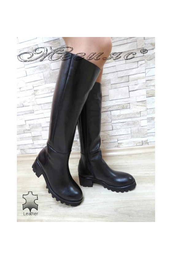 Women boots 9153 black leather