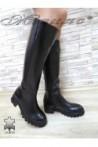 Дамски ботуши 9153 черни от естествена кожа