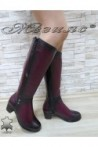 Дамски ботуши 825 бордо от естествена кожа