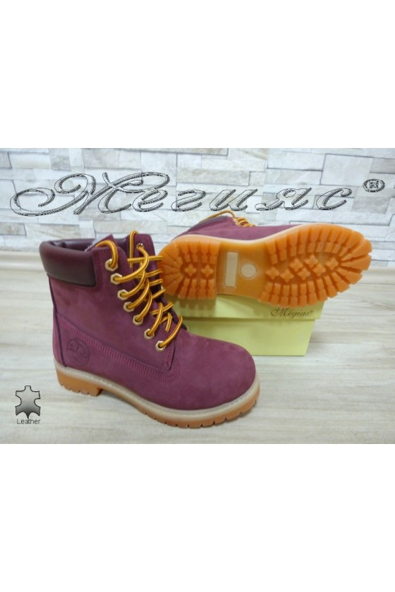 Women boots 02 wine suede leather