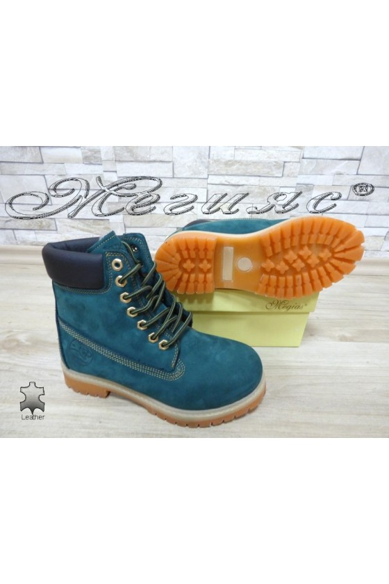 Women boots 02 green suede leather