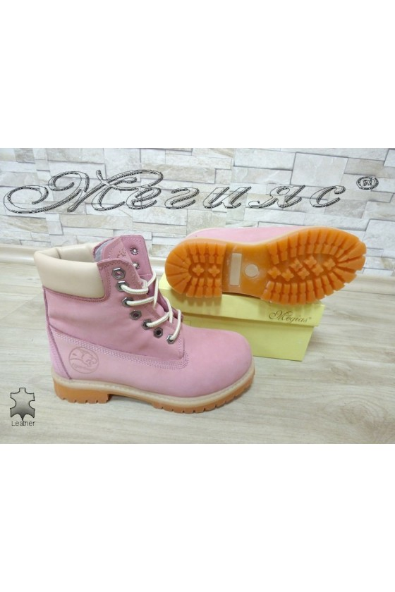 Women boots 02 pink suede leather